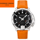 【萬年鐘錶】Giorgio Fedon 1919義大利工藝   TIMELESS V 黑x銀x橘皮帶   GFBP001