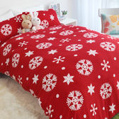 搖粒絨 / 雙人【超細搖粒絨】雙人床包兩用毯組 【溫暖雪花-紅】 台灣製 赫雪黎寢具-超取限1件—