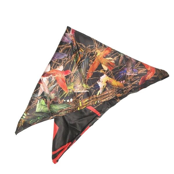 AMQ Alexander McQueen 黑底紅McQ字彩虹鳥絲巾 silk scarf 【BRAND OFF】