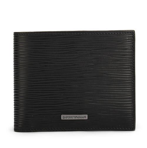 EMPORIO ARMANI 獨家波紋經典金屬Logo標誌PVC短夾(黑色)102135