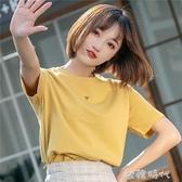 純棉短袖t恤女2020新款寬鬆夏季ins潮女裝網紅超火上衣服半袖體恤 歐韓時代