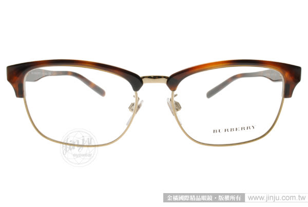 BURBERRY 光學眼鏡 BU2238D 3316 (琥珀棕-金) 質感眉框款 # 金橘眼鏡