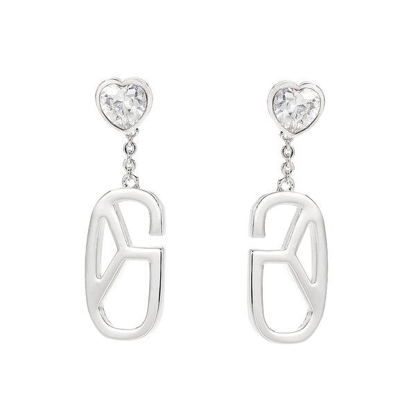 耳環 Earring Monogram Diamond Heart 白金 銅鍍 施華洛世奇水鑽