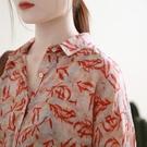 2021夏季新款文藝復古紅棉麻印花襯衫大碼寬松百搭上衣女T桖 快速出貨