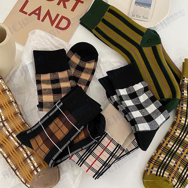 英倫風格子襪子女長筒襪ins潮秋冬季日系復古港風中筒襪