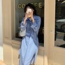 襯裙 秋裝新款法式復古條紋長袖襯衫裙子減齡顯瘦氣質連衣裙 莎瓦迪卡