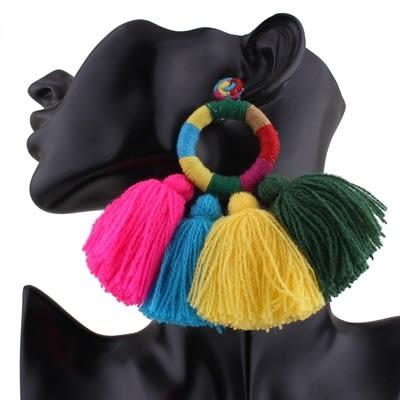 流蘇耳環-歐美誇張超大彩色女耳飾73ns7【時尚巴黎】