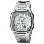 【CASIO】10年電力方款商務型男不鏽鋼雙顯錶-白面(AW-81D-7A)