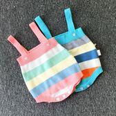 嬰兒彩虹柔軟針織背帶褲純棉吊帶連體包屁哈衣1新生兒衣服2歲童裝