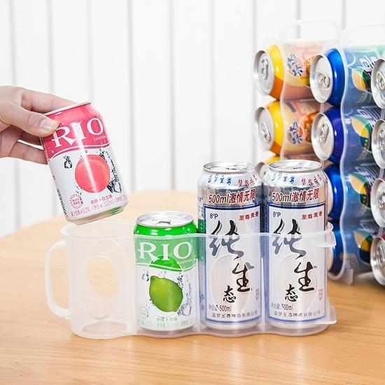 飲料架 塑料盒 整理架 收納架 分隔 抽屜式 易拉罐 收納盒 手拉式 四格瓶罐整理架【X016】慢思行