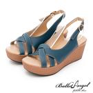 楔型涼鞋 夏日微風美型真皮楔型涼鞋(藍)...
