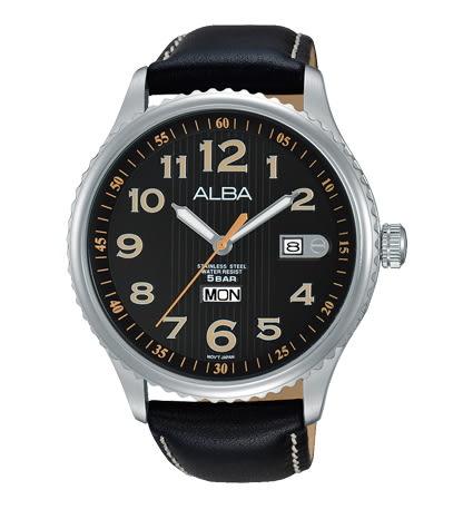 【時間道】[ALBA。錶]即動宣言時尚紳士腕錶/黑面黑皮(VJ43-X036C/AV3509X1)免運費