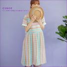 洋裝 涼夏多彩條紋袖口蕾絲洋裝 單色-小C館日系