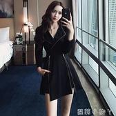套裝女2020新款秋季法式復古氣質修身顯瘦長袖洋裝 短褲兩件套 蘿莉新品