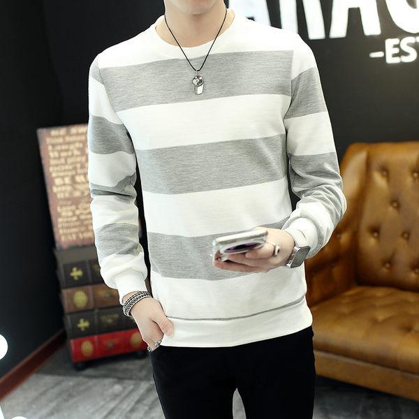 男士長袖t恤 男裝韓版圓領修身條紋小衫青少年學生青年上衣服衛衣