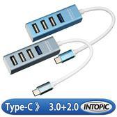 [富廉網]【INTOPIC】USB3.0、2.0 Type-C高速集線器 HBC-530 藍