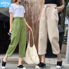 【V2907】shiny藍格子-隨性自在.高腰花苞大口袋寬鬆休閒褲