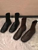 春秋襪子靴女新款秋季襪靴黑色女鞋百搭平底鞋英倫風小皮鞋秋聖誕交換禮物