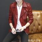 青年個性短款皮衣男士韓版機車皮夾克潮流春秋季帥氣休閒薄款外套 蘿莉小腳丫