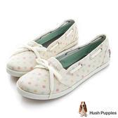 Hush Puppies 甜心點點咖啡紗芭蕾娃娃鞋-米白
