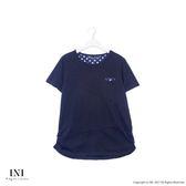 【INI】簡單設計、拼接點點竹節紋棉質上衣.黑色