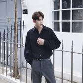 長袖襯衫-純色簡約休閒百搭燈籠袖男上衣2色73po36【巴黎精品】