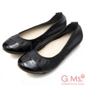 G.Ms. MIT系列-素面漆皮拼接牛皮娃娃鞋*黑色