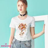 【SHOWCASE】森林亮片鹿印花圓領棉質T恤(白色)