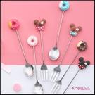 甜甜圈叉子湯匙 可愛糖果色卡通 不鏽鋼水果叉 冰淇淋湯匙 茶匙 生日分享 婚禮小物 來店禮