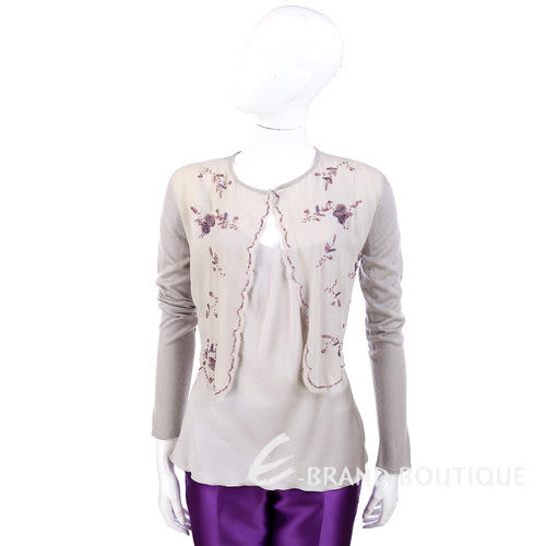 ALBERTA FERRETTI 灰色串珠飾兩件式上衣 0511112-06