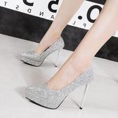 婚鞋女2018新款單鞋水晶亮片銀色漸變伴新娘細跟尖頭高跟 居享優品