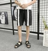 找到自己品牌 男 潮 條紋拼接 鐵環裝飾 休閒短褲 運動短褲
