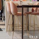北歐家用靠背吧臺椅酒吧前臺創意高腳吧臺凳現代簡約休閑咖啡廳椅 JA9804『毛菇小象』