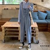 大碼牛仔背帶褲女韓版寬減齡吊帶直筒褲子【時尚大衣櫥】