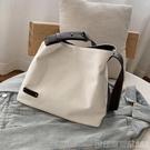 日系簡約帆布袋女包潮休閒包單肩包環保袋學生文藝大容量購物袋潮 印象