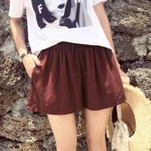 韓版銅氨絲短褲女鬆緊高腰闊腿寬鬆運動休閒褲熱褲裙褲   蜜拉貝爾