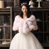 【黑色星期五】秋冬季新款超長仿狐貍毛皮草新娘婚紗披肩斗篷式女保暖小外套