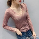 熱賣蕾絲打底衫 2021秋冬季新款緊身長袖性感V領蕾絲上衣女內搭洋氣加絨打底小衫【618 狂歡】