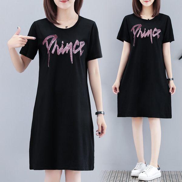 微購【A4149】亮片字母短袖連身裙 L-5XL