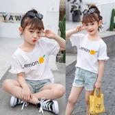 T恤-女童短袖T恤2020新款夏裝圓領印花體恤衫女孩洋氣韓版休 閒上衣潮