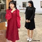 (現貨+預購FUWAFUWA)- 加大尺碼亮絲假兩件長袖洋裝小禮服