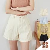 中線高腰反摺斜紋短褲S-L號-BAi白媽媽【310454】