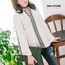 菱格繡紋V領上衣 - ONi STORE -  423205