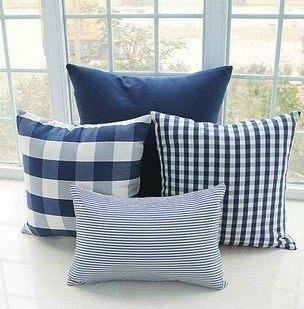 簡約時尚海軍藍格子純棉麻抱枕 腰枕 靠背枕 (50*50cm)