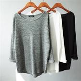 韓版寬鬆純色套頭針織長袖T恤女大碼不規則上衣 圓領豎紋打底衫  極有家