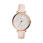 【Fossil】Jacqueline優雅甜美粉色質感摩登真皮腕錶-氣質粉/ES3988/台灣總代理公司貨享兩年保固
