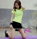 依芝鎂-B418運動衣瑩光短袖上衣服路跑健身服短裙褲裙正品,單上衣售價450元