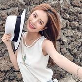 韓版小清新刺繡雪紡衫女夏外穿百搭短款吊帶背心寬鬆無袖打底上衣-十週年店慶 優惠兩天