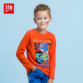 JJLKIDS 男童 滑板少年印花純棉上衣(卡通桔)