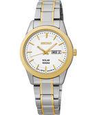 SEIKO CS 都會時尚太陽能女錶-銀x雙色版/28mm V138-0AB0KS(SUT162P)